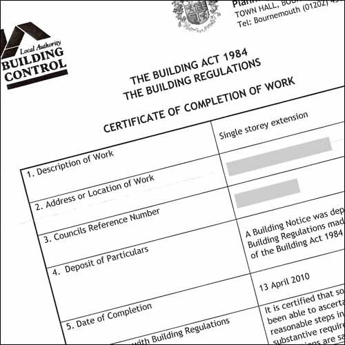 Process of Building Work Completion Certificate